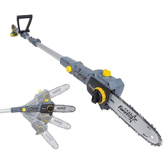 FANZTOOL 20V Li-Ion Akku-Hochentaster mit 2,5Ah Akku/Ladegerät, Höhe bis 5 m, 17 cm Schnittstärke, Schwertlänge 20 cm, leichtes Gewicht 4 kg